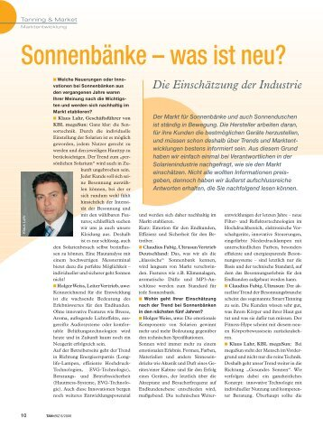 Sonnenbänke – was ist neu? - Health and Beauty Holding