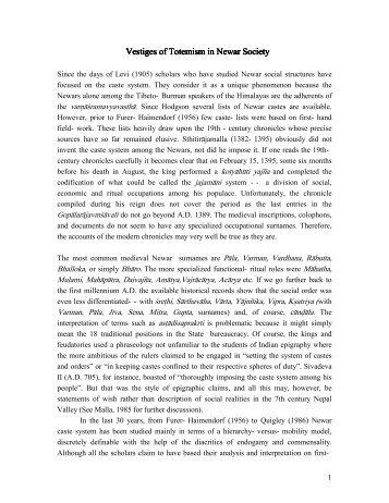 Download >> Vestiges of Totemism in Newar Society - Dr. Kamal P ...