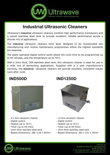 Ultrawave's Industrial ultrasonic cleaners