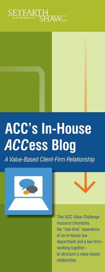 ACC's In-House ACCess Blog - Seyfarth Shaw LLP