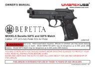 OWNER'S MANUAL MODELS Beretta 92FS and ... - NekS.com.ua