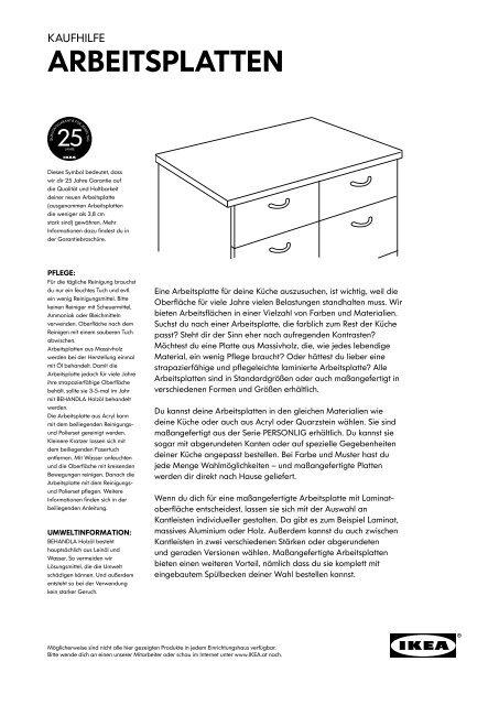Die Richtige Arbeitsplatte Pdf Ikea