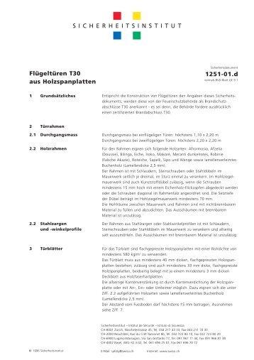 Flügeltüren T30 aus Holzspanplatten – 1251-01.d - Swissi