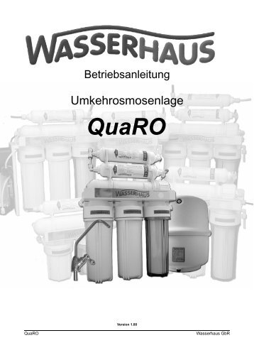 Bedienungsanleitung QuaRO Umkehrosmoseanlage