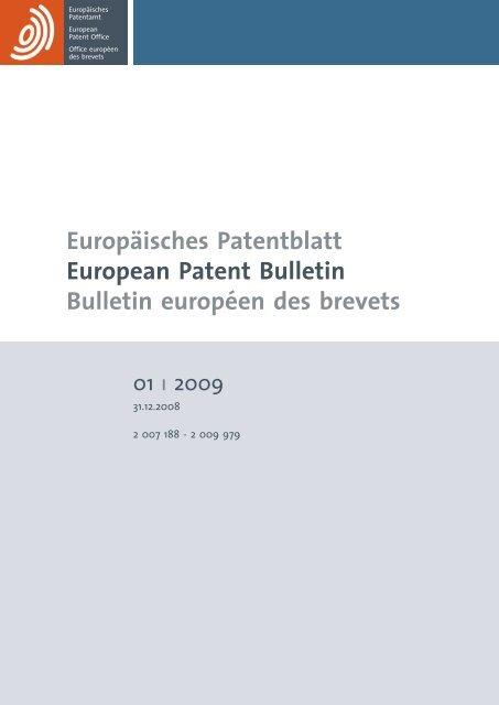 Bulletin 2009/01 - European Patent Office