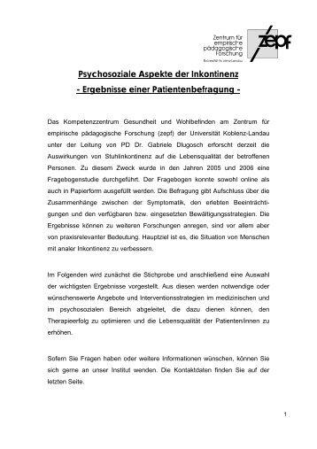 Psychosoziale Aspekte der Inkontinenz - Ergebnisse einer ...