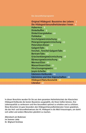 Ausführliche Hildegard Gesundheitsbroschüre für Sie zum download