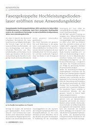 Fasergekoppelte Hochleistungsdioden- laser ... - Laser Magazin