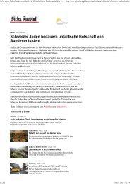 Schweizer Juden bedauern unkritische Botschaft von ...