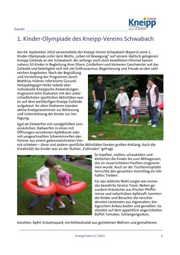 1. Kinder-Olympiade des Kneipp-Vereins ... - Kneipp-Bund e.V.