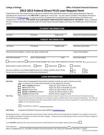 Direct Plus Loan Request Form 2012-2013
