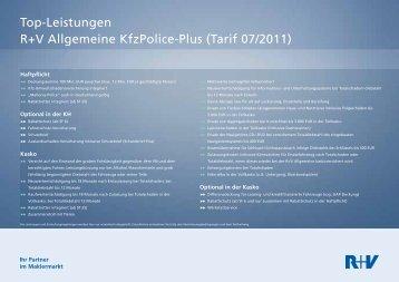 Top-Leistungen R+V Allgemeine KfzPolice-Plus (Tarif 07/2011)