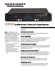 CDR500 CD-R/RW Recorder & Player plus 2X ... - Parts Express