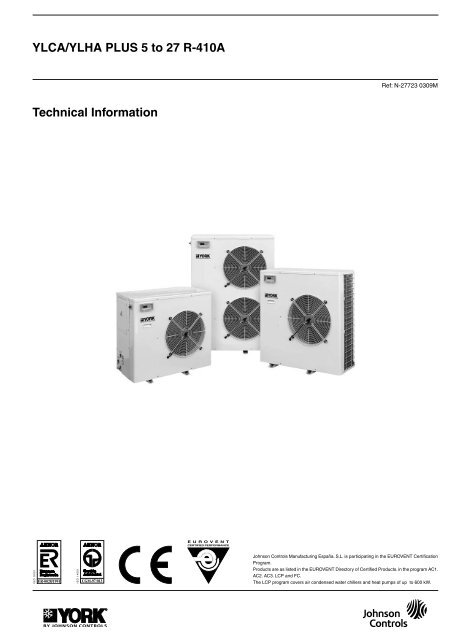 YLCA/YLHA PLUS 5 to 27 R-410A Technical Information - Cool on