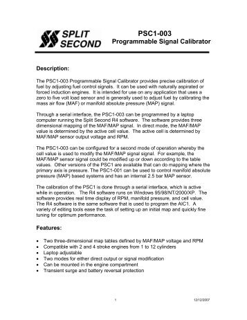 PSC1-003 datasheet pdf - Split Second