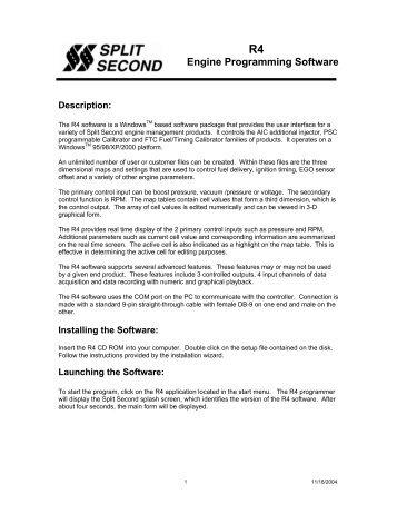 R4 Engine Programming Software - Split Second