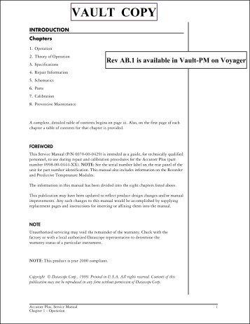 Accutorr Plus Service Manual - Mindray