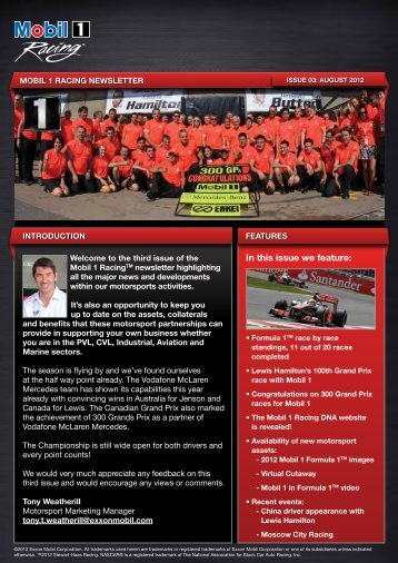 Check out the PDF Mobil 1 Racing newsletter - WP Motorsport