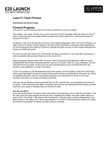 2012 Lotus F1 Team press pack - AUSmotive.com