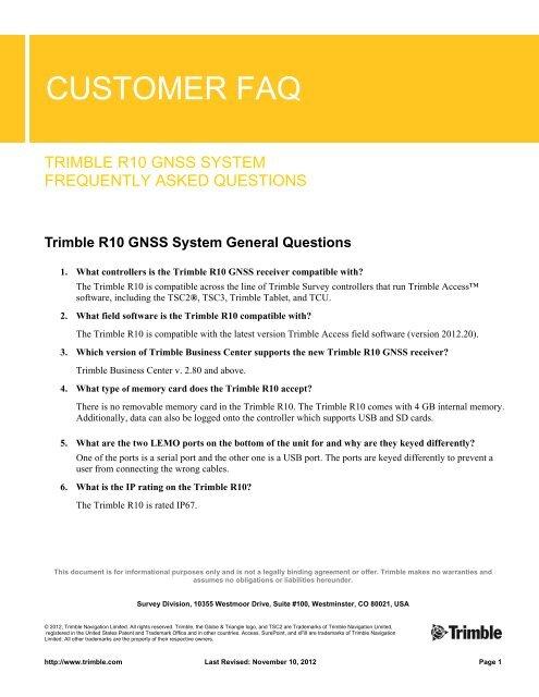 Customer FAQ - Trimble R10 GNSS System