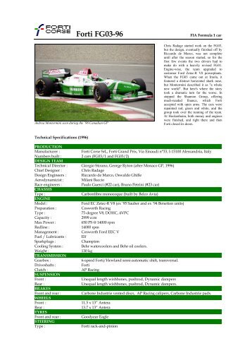 Forti FG03-96 - Motorsports Almanac