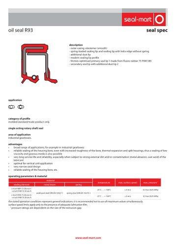 seal spec oil seal R93 - seal-mart