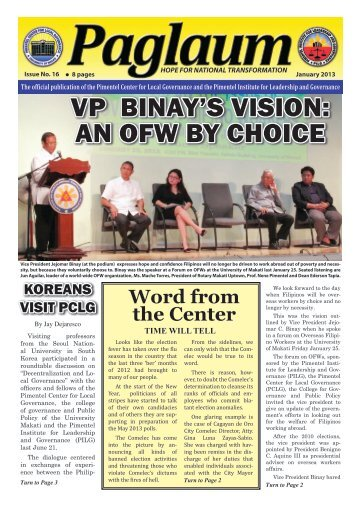 VP BInay's VIsIon: an oFW By ChoICe