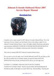 Johnson Evinrude Outboard Motor 2007 Service Repair Manual
