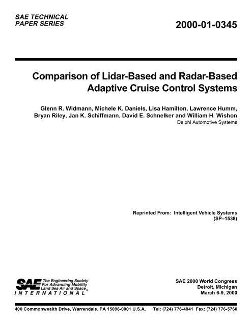 2000-01-0345 Comparison of Lidar-Based and Radar     - Delphi