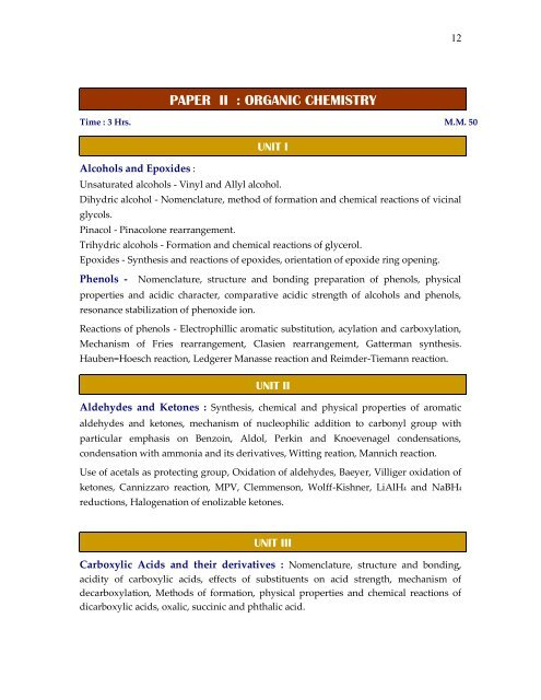 PAPER II : ORGANIC CHEMISTRY