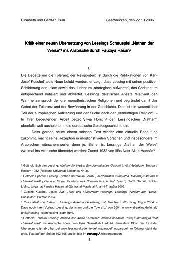Kritik einer neuen Übersetzung von Lessings Schauspiel Nathan ...