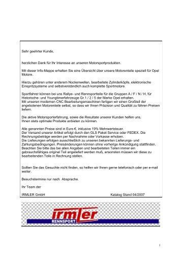 Katalog Version 08_2008 - Irmler Motorsport