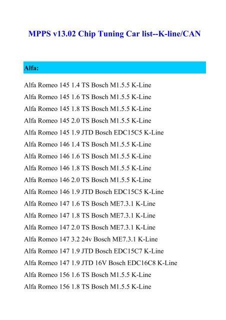 MPPS v13 02 Chip Tuning Car list