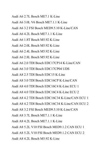 Audi A4 2 0 TDI Bosch EDC