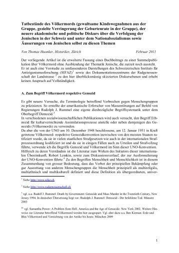Tatbestände des Völkermords (gewaltsame ... - sifaz