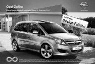 Opel Zafira Preisliste