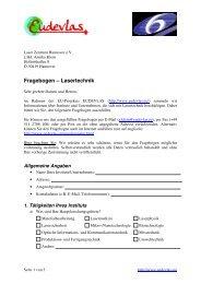 Fragebogen – Lasertechnik - Laser Zentrum Hannover eV