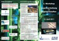 2. Workshop Laserbearbeitung Glaswerkstoffen - Laser Zentrum ...