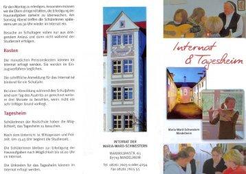 """Prospekt """"Internat und Tagesheim - Maria-Ward-Realschule ..."""