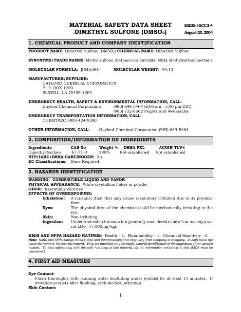 MATERIAL SAFETY DATA SHEET DIMETHYL SULFONE (DMSO2)