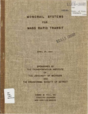 1954 - Monorail - MONORAIL SYSTEMS FOR MASS RAPID TRANSIT