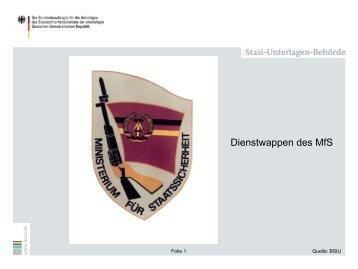 Dienstwappen des MfS - BStU