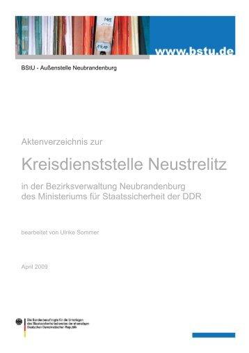 Aktenverzeichnis zur Kreisdienststelle Neustrelitz in der ... - BStU