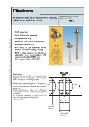 MFS flow sensor for measurement of velocity or flow of ... - Micatrone