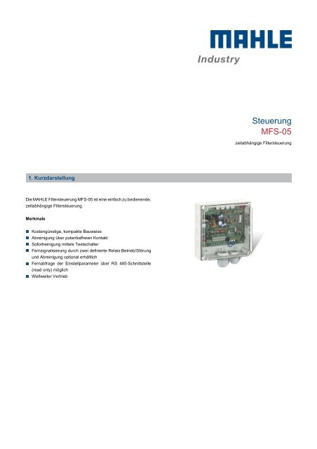 Steuerung MFS-05 - MAHLE Industry - Filtration