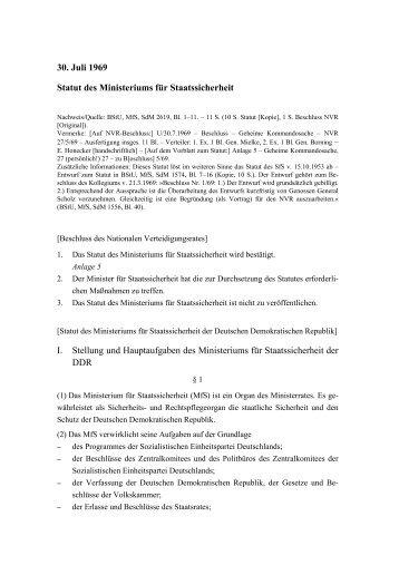 30. Juli 1969 Statut des Ministeriums für Staatssicherheit I ... - BStU