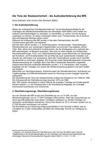 Die Töne der Staatssicherheit – die Audioüberlieferung des MfS -