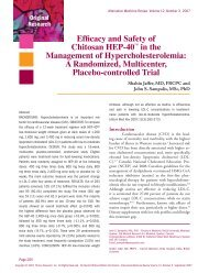 Efficacy and Safety of Chitosan HEP-40 - Alternative Medicine Review