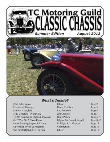 Summer Edition August 2012 What's Inside? - TC Motoring Guild