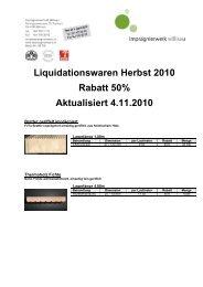 Liquidationswaren Herbst 2010 Rabatt 50% Aktualisiert 4.11.2010